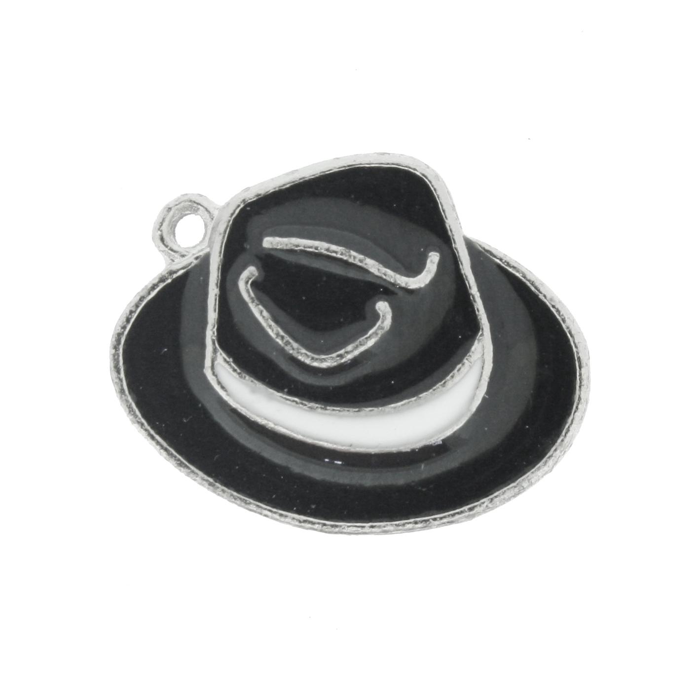 Chapéu Resinado Níquel - Preto e Branco - 16mm  - Universo Religioso® - Artigos de Umbanda e Candomblé