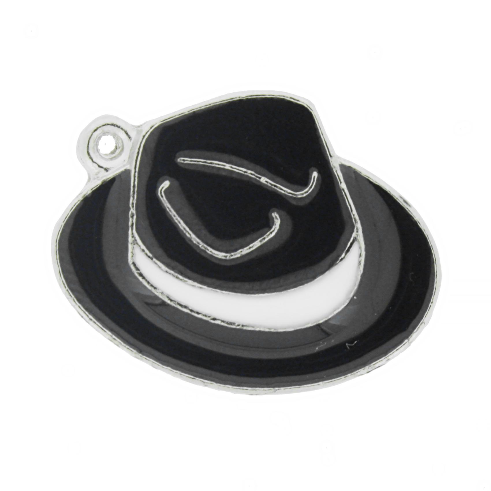 Chapéu Resinado Níquel - Preto e Branco - 22mm  - Universo Religioso® - Artigos de Umbanda e Candomblé