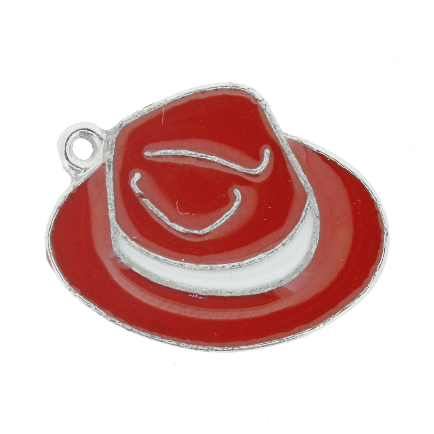 Chapéu Resinado Níquel - Vermelho e Branco - 22mm  - Universo Religioso® - Artigos de Umbanda e Candomblé
