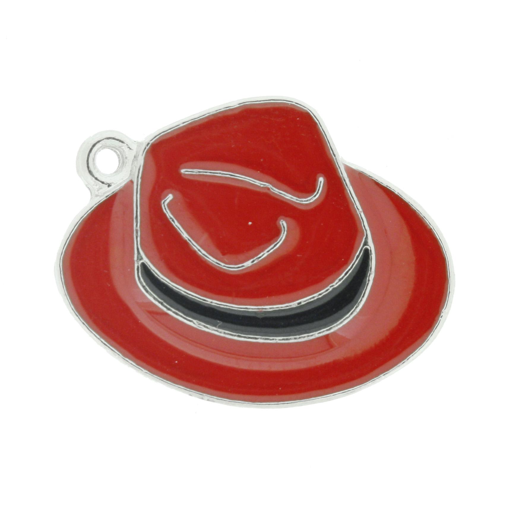 Chapéu Resinado Níquel - Vermelho e Preto - 22mm  - Universo Religioso® - Artigos de Umbanda e Candomblé