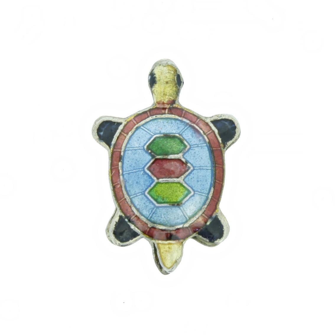 Cloisonné - Entremeio - Tartaruga - Azul  - Universo Religioso® - Artigos de Umbanda e Candomblé