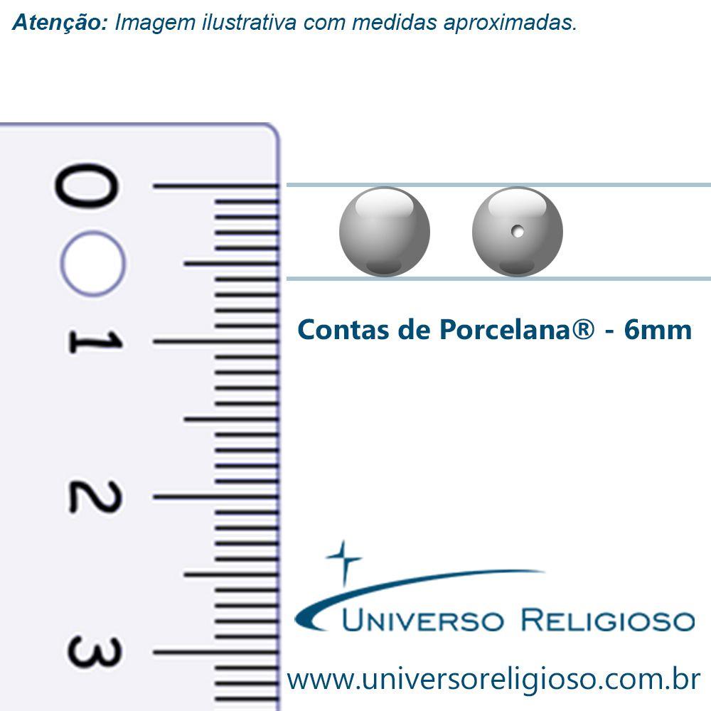 Contas de Porcellana® - Branca - 6mm  - Universo Religioso® - Artigos de Umbanda e Candomblé