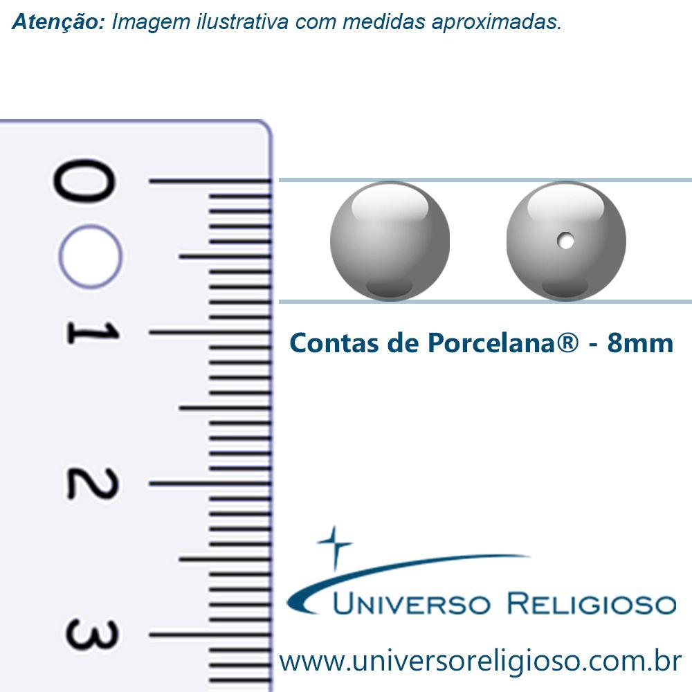 Contas de Porcellana® - Branca - 8mm  - Universo Religioso® - Artigos de Umbanda e Candomblé