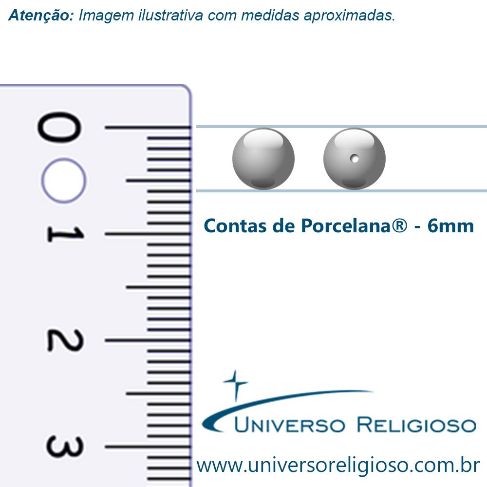 Contas de Porcellana® - Rosa Bebê - 6mm  - Universo Religioso® - Artigos de Umbanda e Candomblé