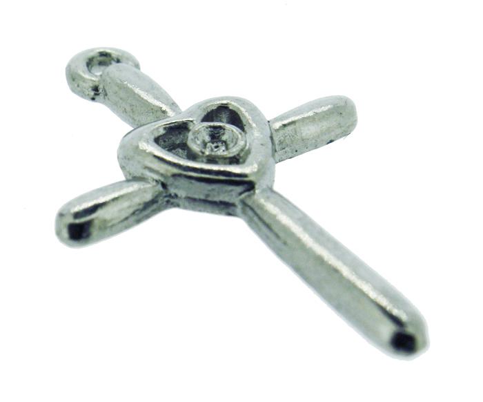 Crucifixo Coração - Metal - Níquel - 2,6cm - 10 Peças  - Universo Religioso® - Artigos de Umbanda e Candomblé