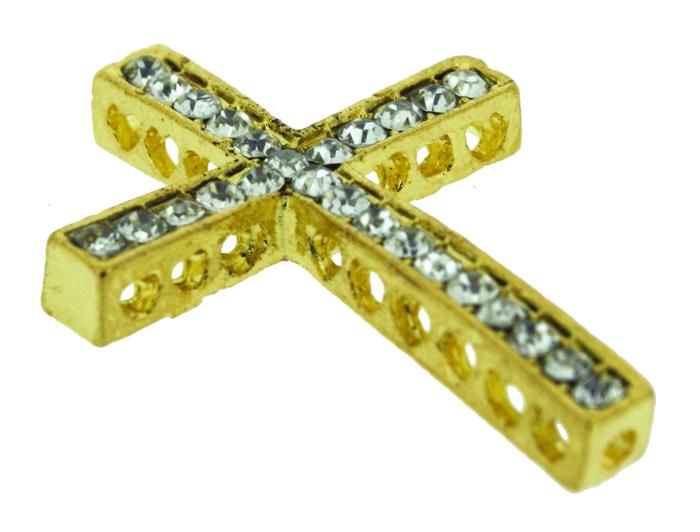 Crucifixo - Metal com Strass - Dourado - 3,4cm - 01 Peça  - Universo Religioso® - Artigos de Umbanda e Candomblé