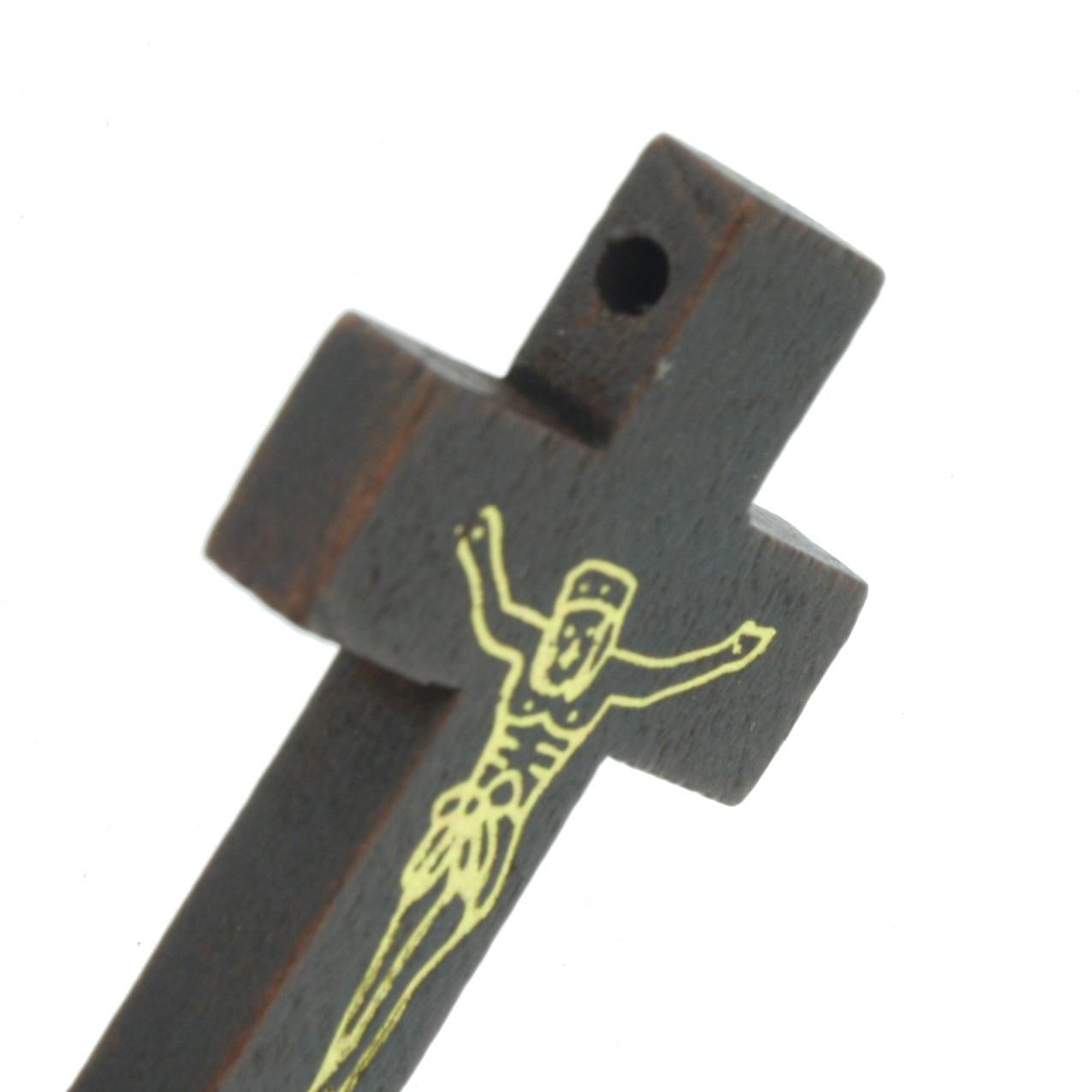 Crucifixo Cristo Madeira - Imbuia - 43mm  - Universo Religioso® - Artigos de Umbanda e Candomblé