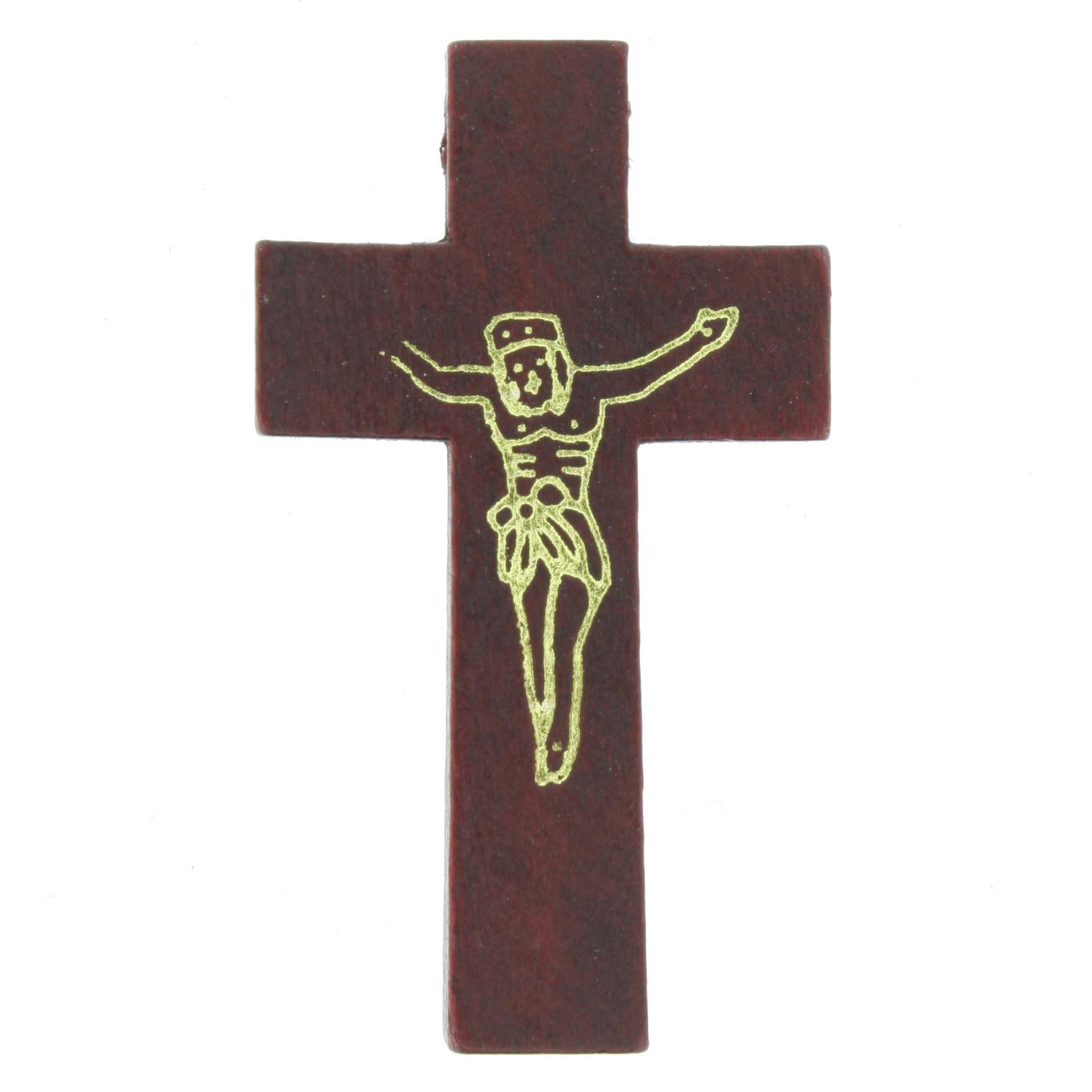 Crucifixo Cristo Madeira - Mogno - 43mm  - Universo Religioso® - Artigos de Umbanda e Candomblé