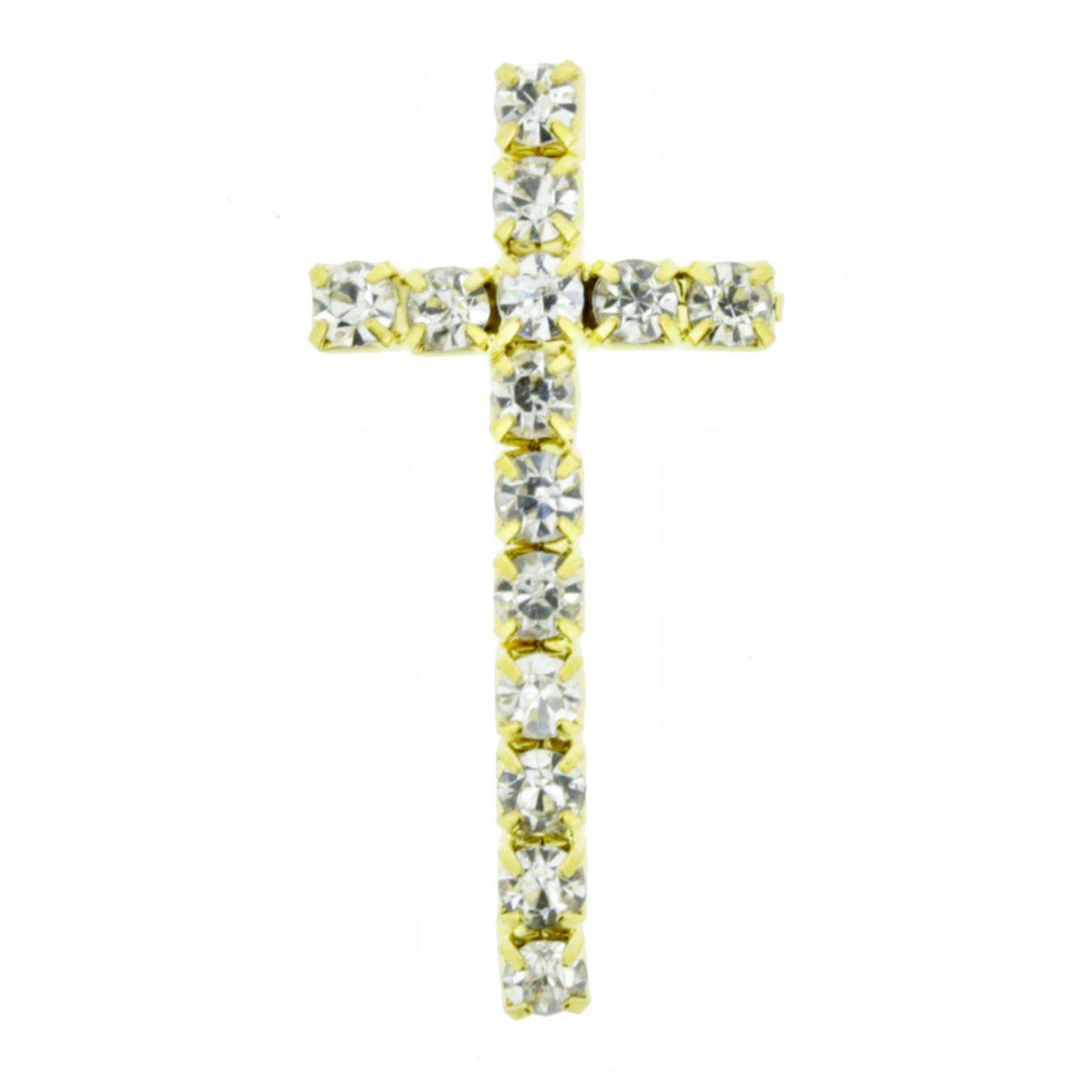 Crucifixo Curvo para Pulseira - Metal com Strass - Dourado - 3,1cm - 01 Peça  - Universo Religioso® - Artigos de Umbanda e Candomblé