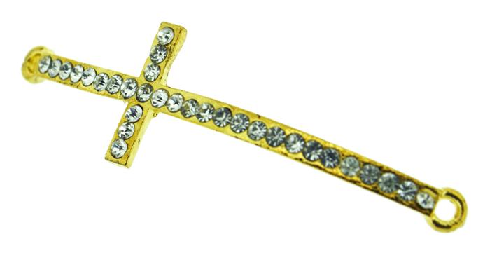 Crucifixo Curvo para Pulseira - Metal com Strass - Dourado - 5,5cm - 01 Peça  - Universo Religioso® - Artigos de Umbanda e Candomblé