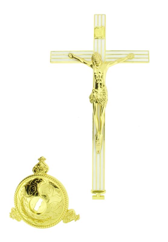 Crucifixo de Parede e Base - Dourado - 18cm  - Universo Religioso® - Artigos de Umbanda e Candomblé