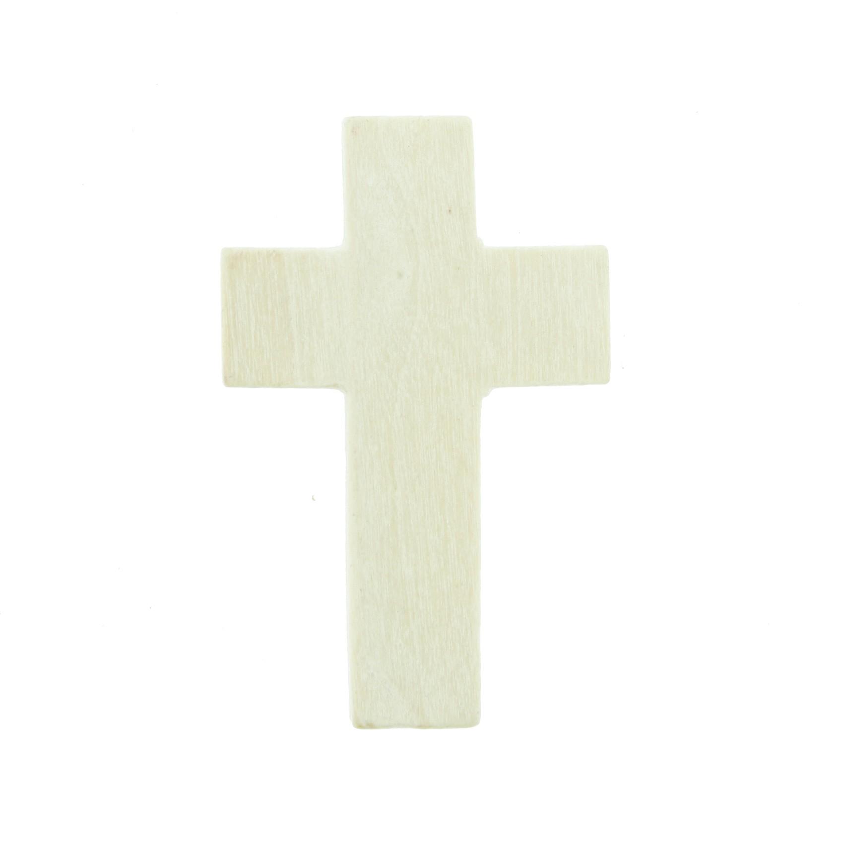 Crucifixo Madeira - Marfim - 34mm  - Universo Religioso® - Artigos de Umbanda e Candomblé