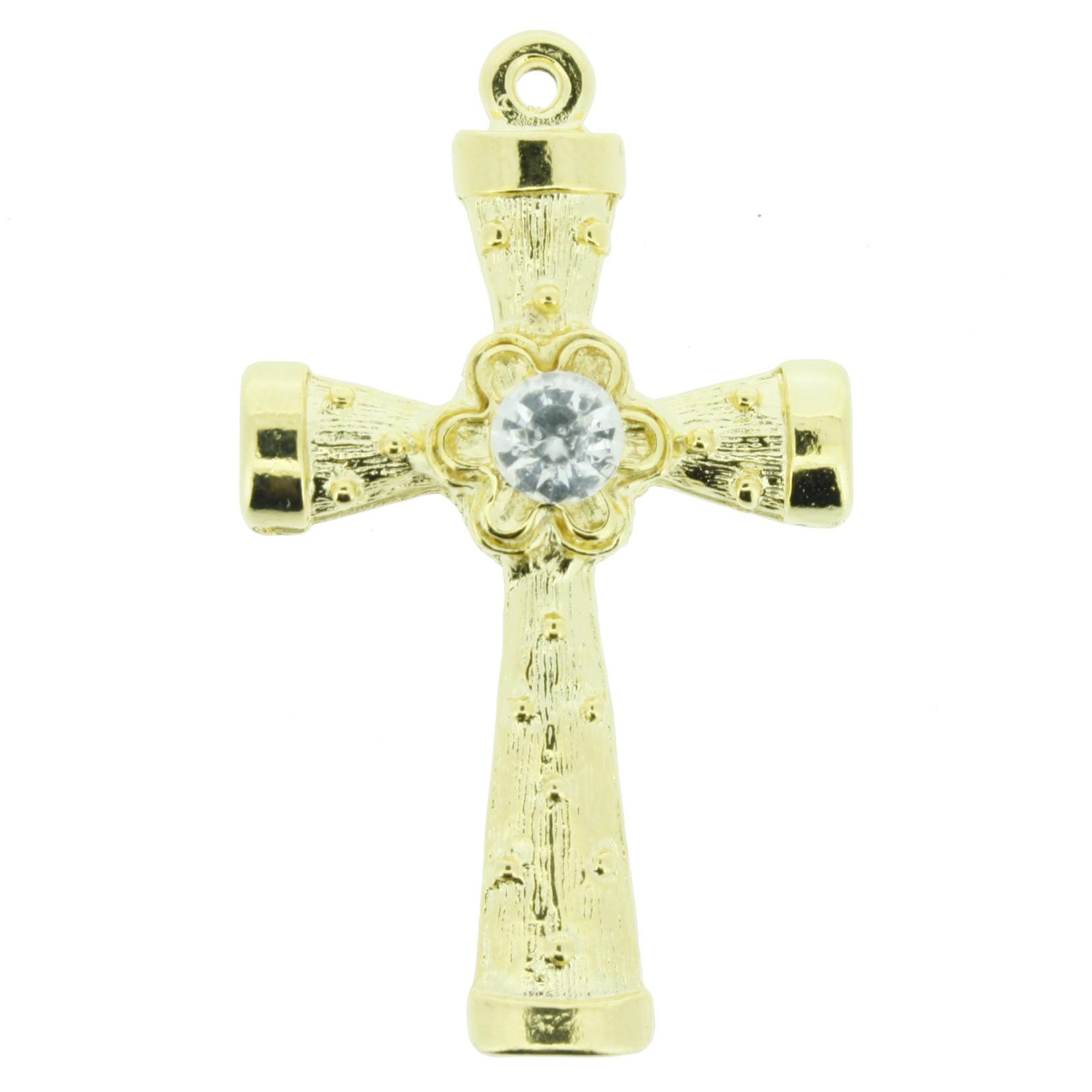 Crucifixo Metal - Dourado com Strass - 48mm  - Universo Religioso® - Artigos de Umbanda e Candomblé