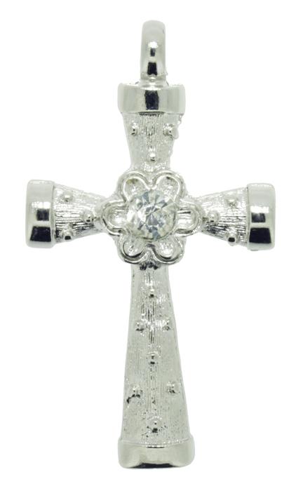 Crucifixo Metal - Níquel com Strass - 48mm  - Universo Religioso® - Artigos de Umbanda e Candomblé