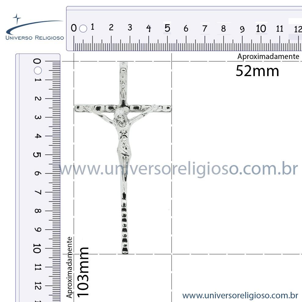 Crucifixo - Níquel - 103mm  - Universo Religioso® - Artigos de Umbanda e Candomblé