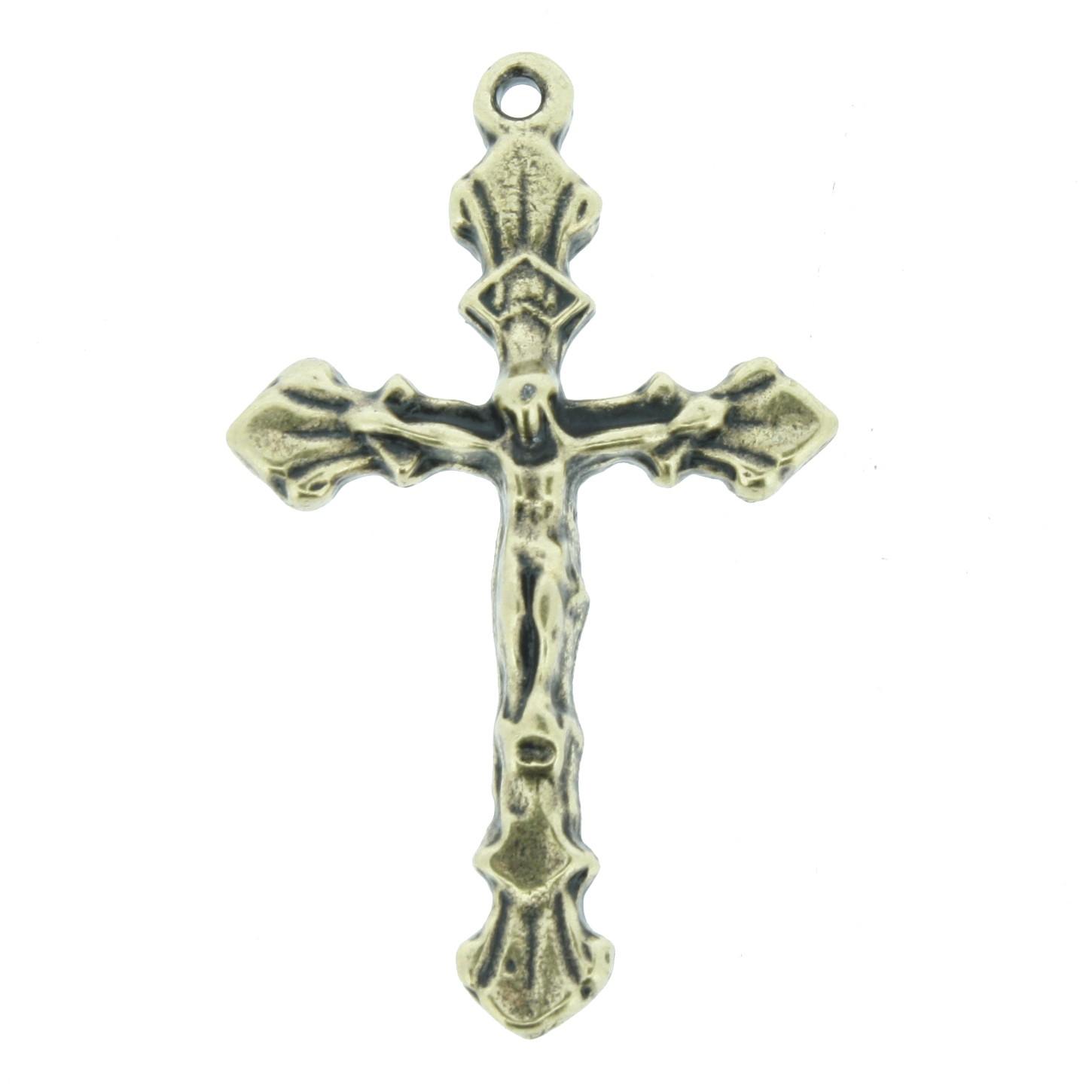 Crucifixo - Ouro Velho - 36mm  - Universo Religioso® - Artigos de Umbanda e Candomblé