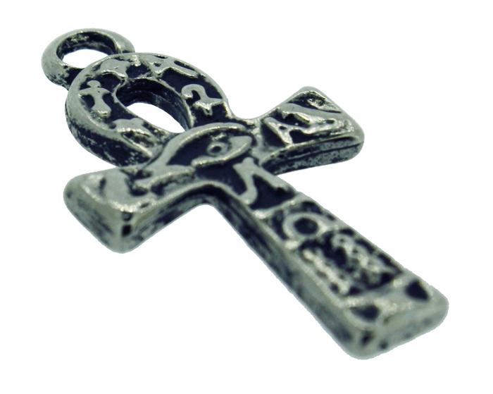 Cruz Ansata Olho de Horus - Níquel Velho - 33mm  - Universo Religioso® - Artigos de Umbanda e Candomblé