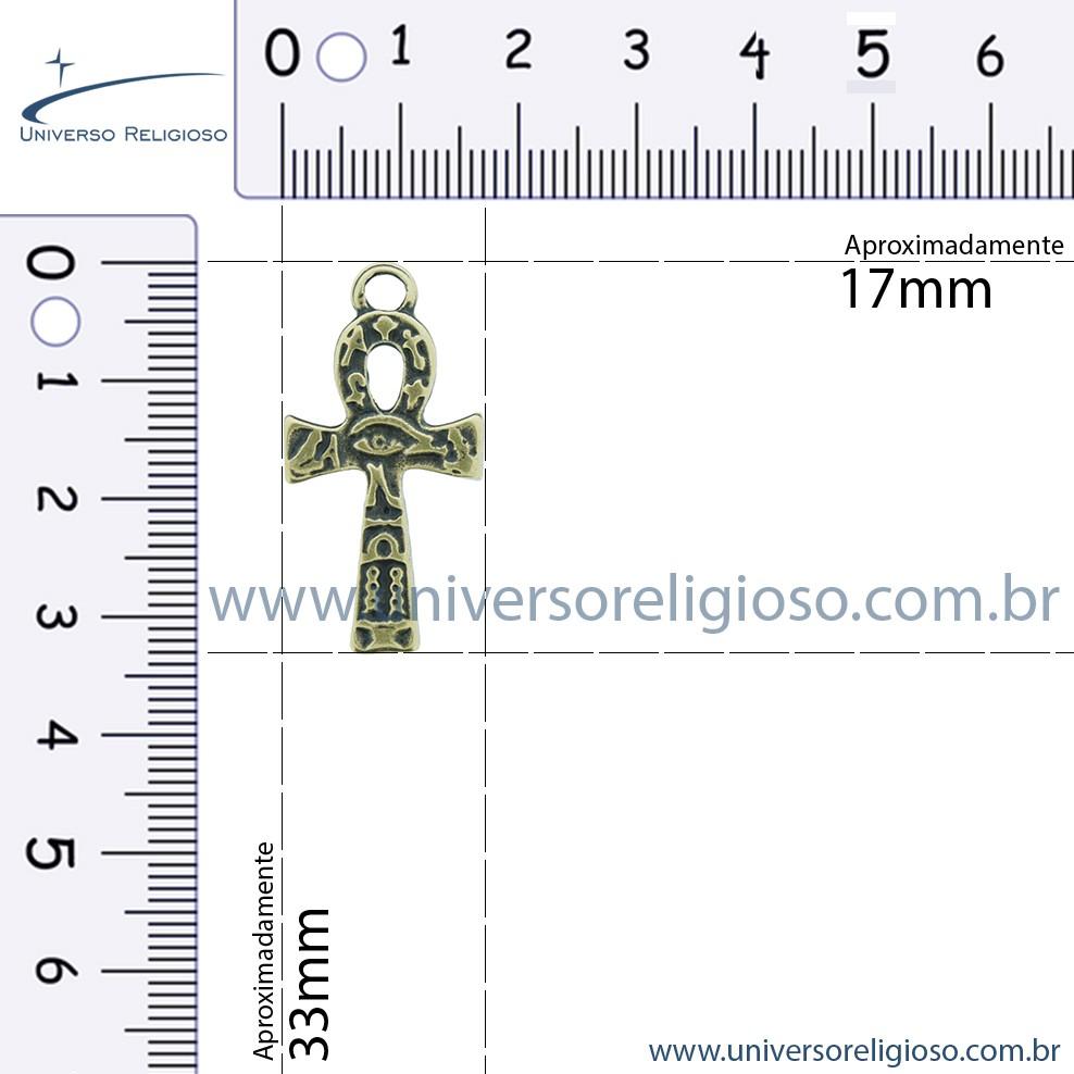 Cruz Ansata Olho de Horus - Ouro Velho - 33mm  - Universo Religioso® - Artigos de Umbanda e Candomblé