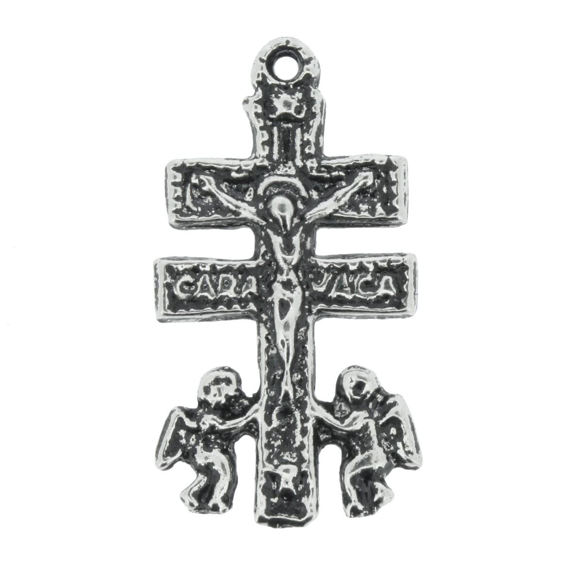 Cruz Caravaca - Níquel Velho - 28mm  - Universo Religioso® - Artigos de Umbanda e Candomblé