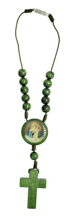 Dezena de Madeira para carro - Mãe Rainha - Verde  - Universo Religioso® - Artigos de Umbanda e Candomblé