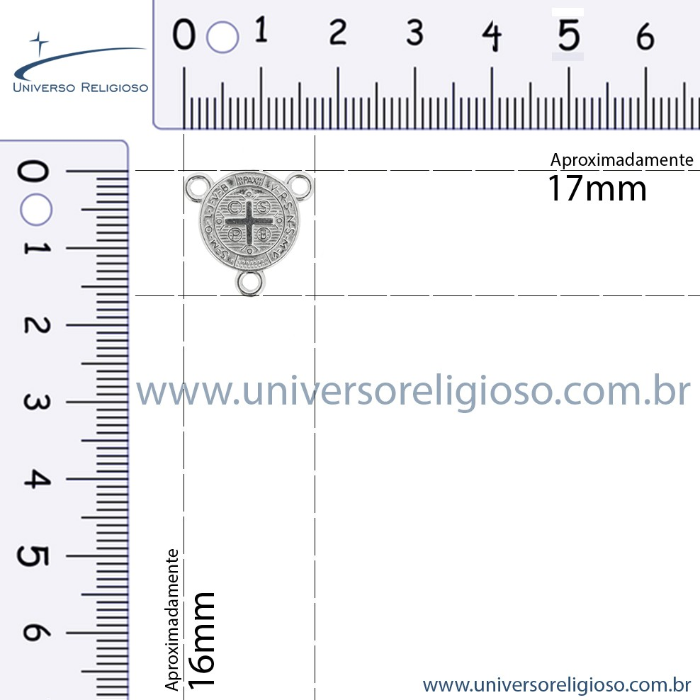 Entremeio Terço São Bento - Níquel - 16mm  - Universo Religioso® - Artigos de Umbanda e Candomblé