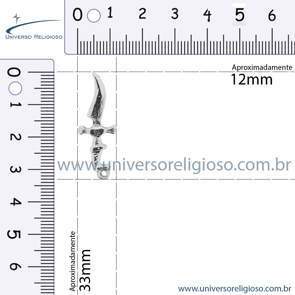 Espada - Adaga - Níquel - 33mm  - Universo Religioso® - Artigos de Umbanda e Candomblé