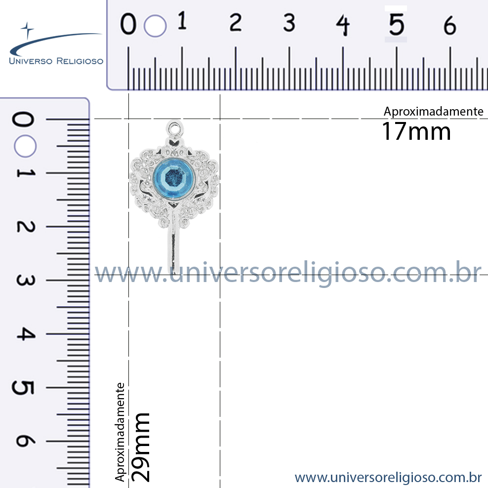 Espelho - Níquel Strass Azul - 29mm  - Universo Religioso® - Artigos de Umbanda e Candomblé