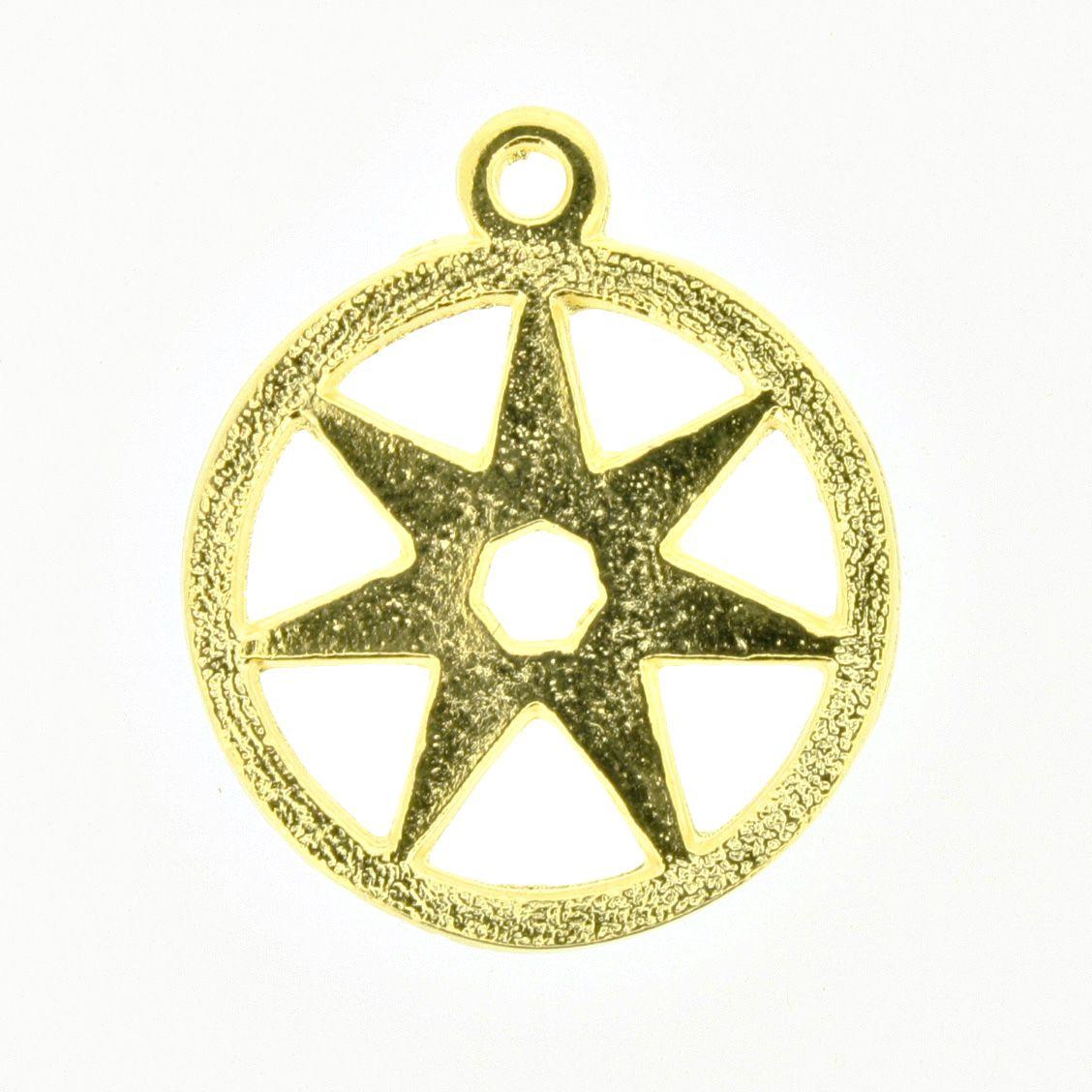 Estrela de 7 pontos - Dourado - 25mm  - Universo Religioso® - Artigos de Umbanda e Candomblé