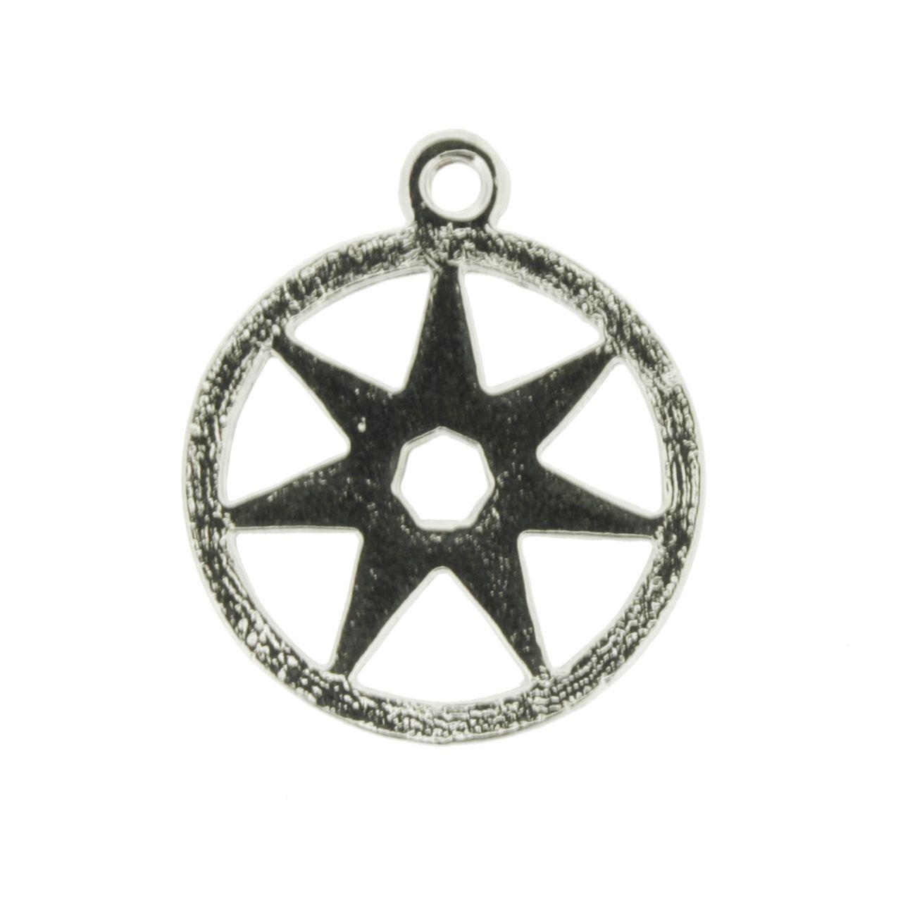 Estrela de 7 pontos - Níquel - 25mm  - Universo Religioso® - Artigos de Umbanda e Candomblé