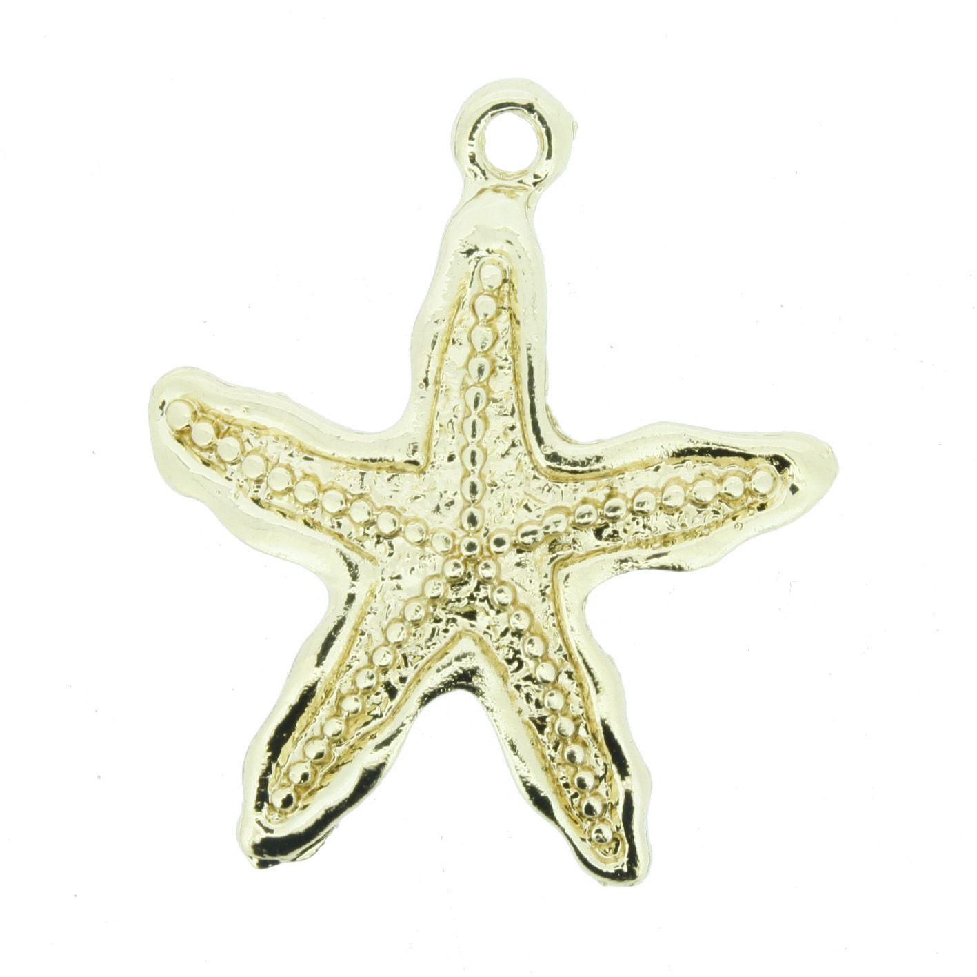 Estrela do Mar - Dourada - 34mm  - Universo Religioso® - Artigos de Umbanda e Candomblé