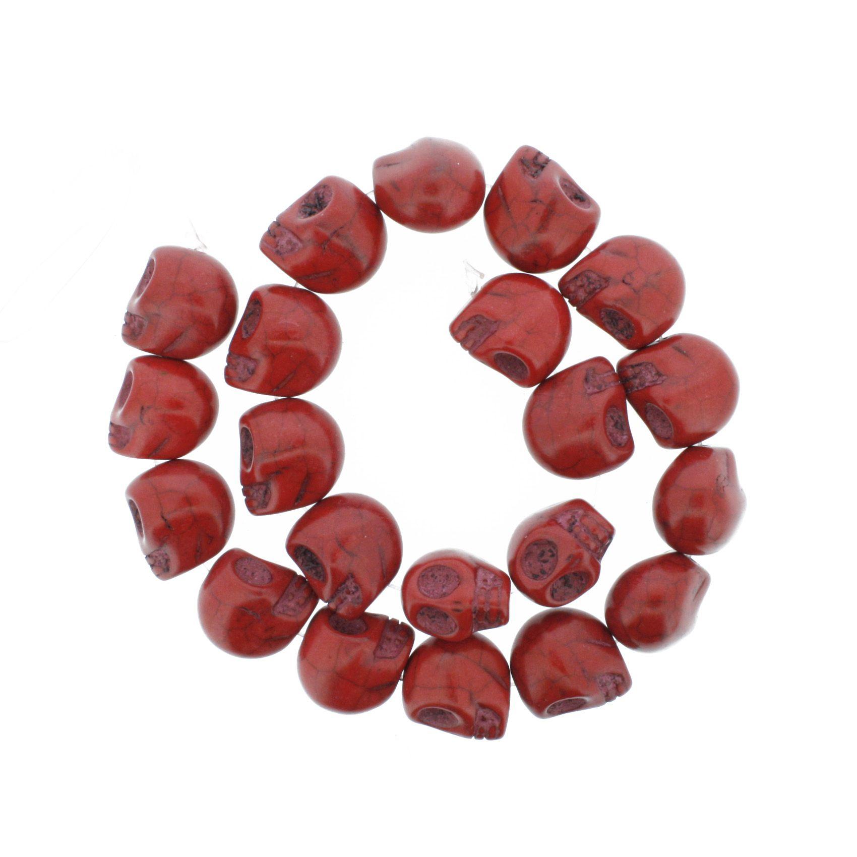 Fio de Caveira de Pedra - Vermelha - Média - 18x15mm  - Universo Religioso® - Artigos de Umbanda e Candomblé