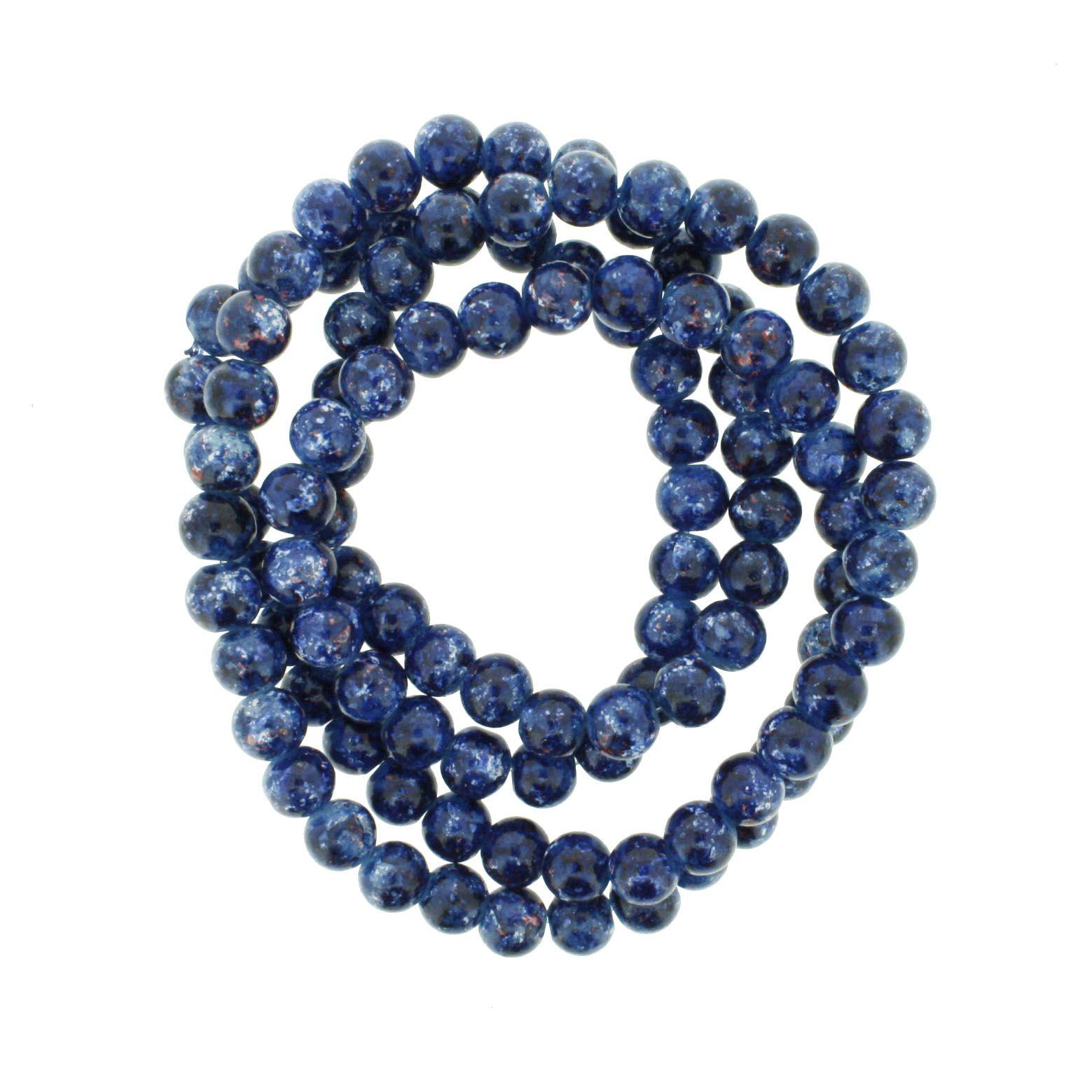Fio de Contas Pintadas - Azul e Branco - 8mm  - Universo Religioso® - Artigos de Umbanda e Candomblé