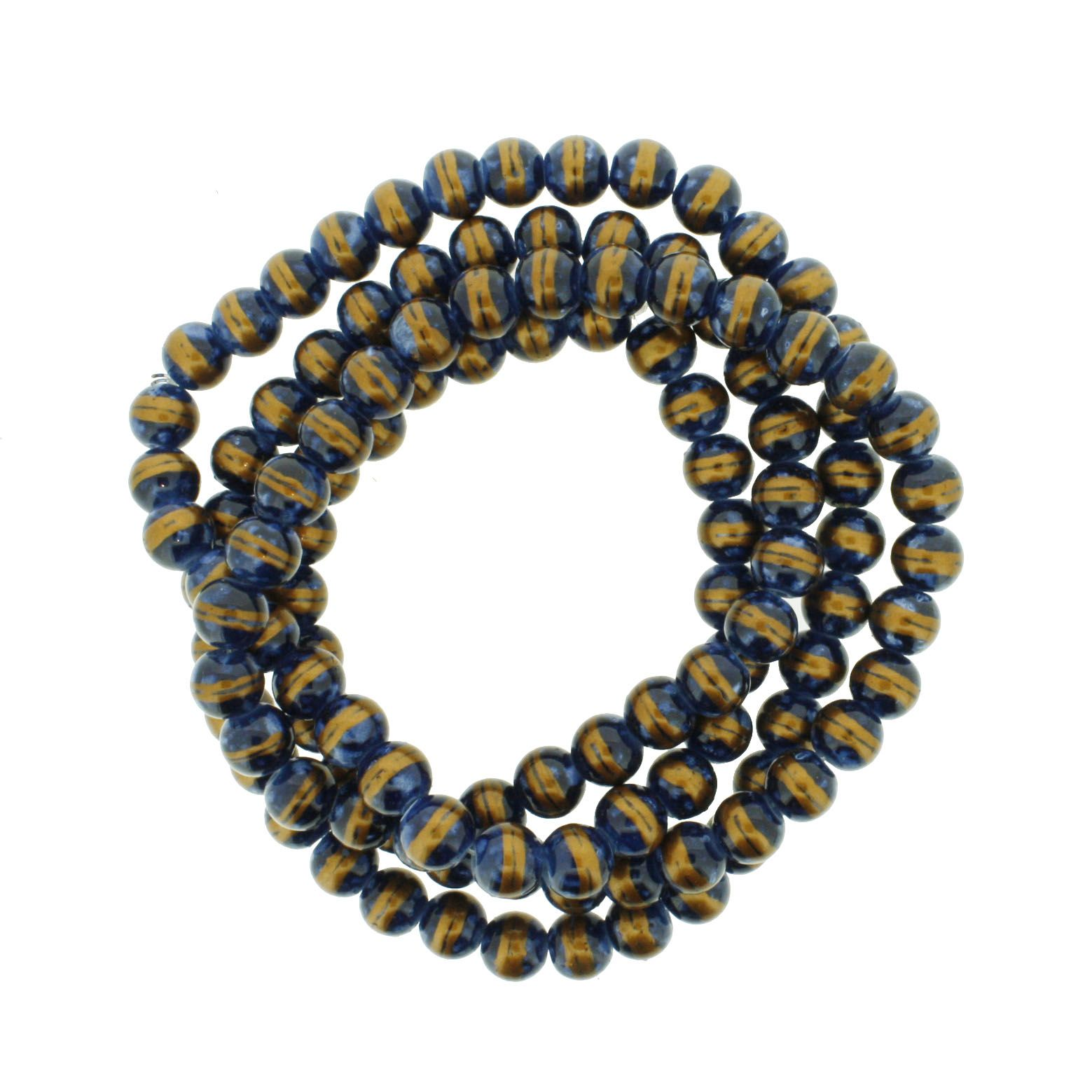 Fio de Contas Pintadas - Azul e Faixa Dourada - 8mm  - Universo Religioso® - Artigos de Umbanda e Candomblé