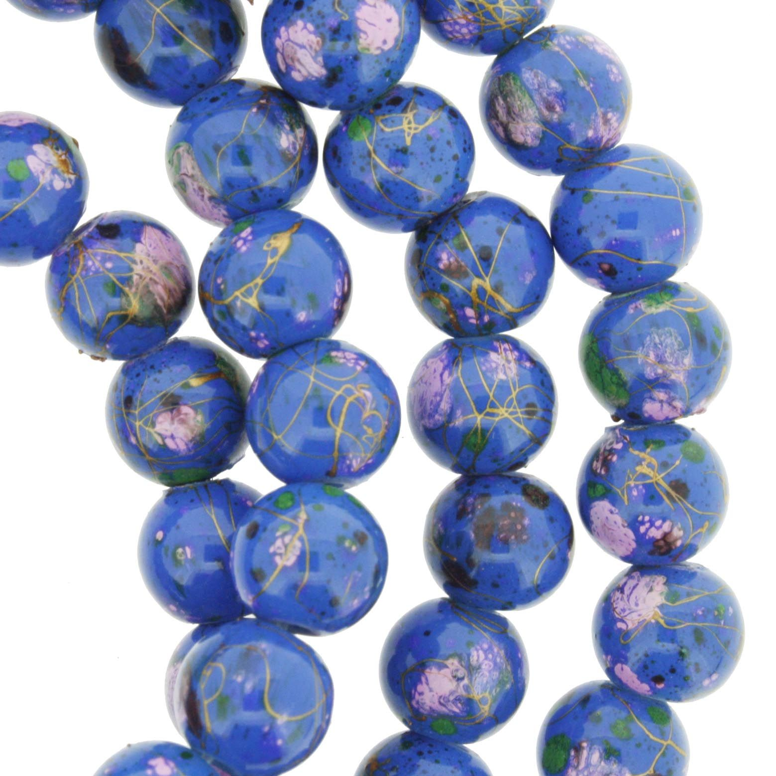 Fio de Contas Pintadas - Azul e Rosa - 8mm  - Universo Religioso® - Artigos de Umbanda e Candomblé