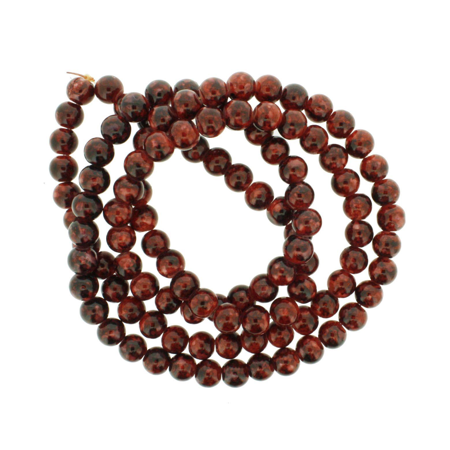 Fio de Contas Pintadas - Vermelho com Preto - 8mm  - Universo Religioso® - Artigos de Umbanda e Candomblé