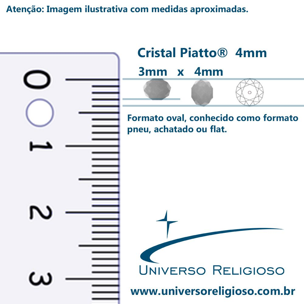 Fio de Cristal - Piatto® - Amarelo - 4mm  - Universo Religioso® - Artigos de Umbanda e Candomblé
