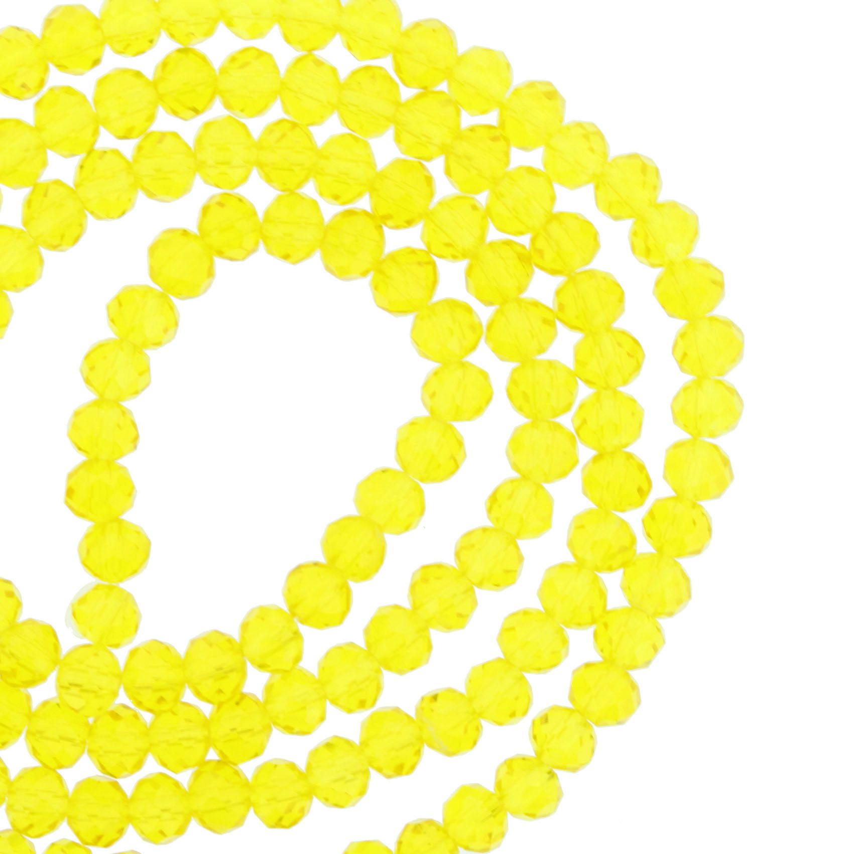 Fio de Cristal - Piatto® - Amarelo Transparente - 4mm  - Universo Religioso® - Artigos de Umbanda e Candomblé