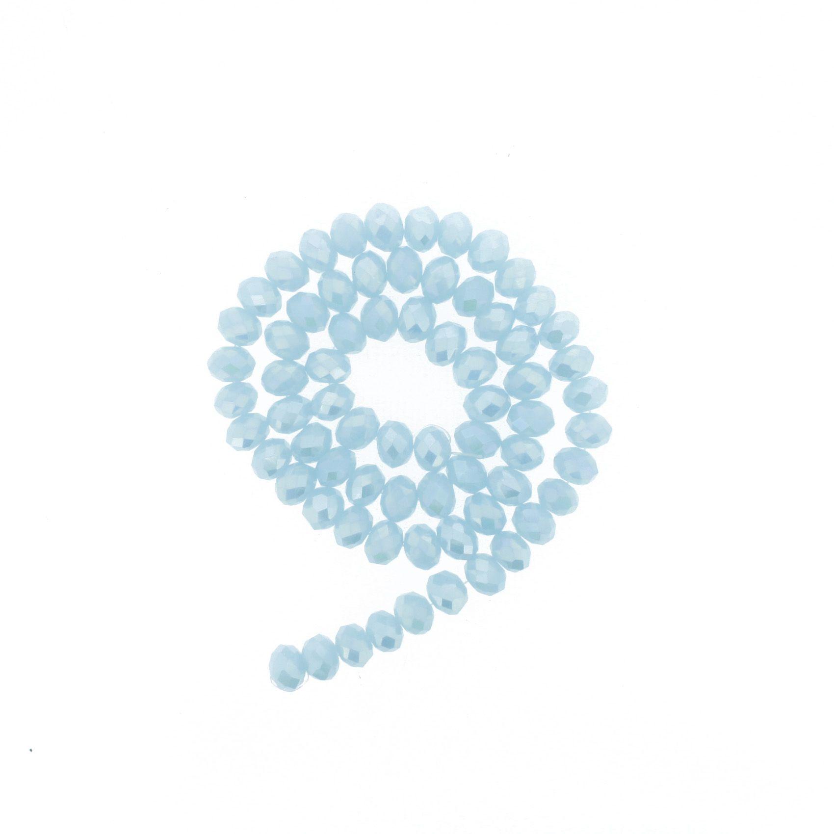 Fio de Cristal - Piatto® - Azul Bebê Irizado - 8mm  - Universo Religioso® - Artigos de Umbanda e Candomblé