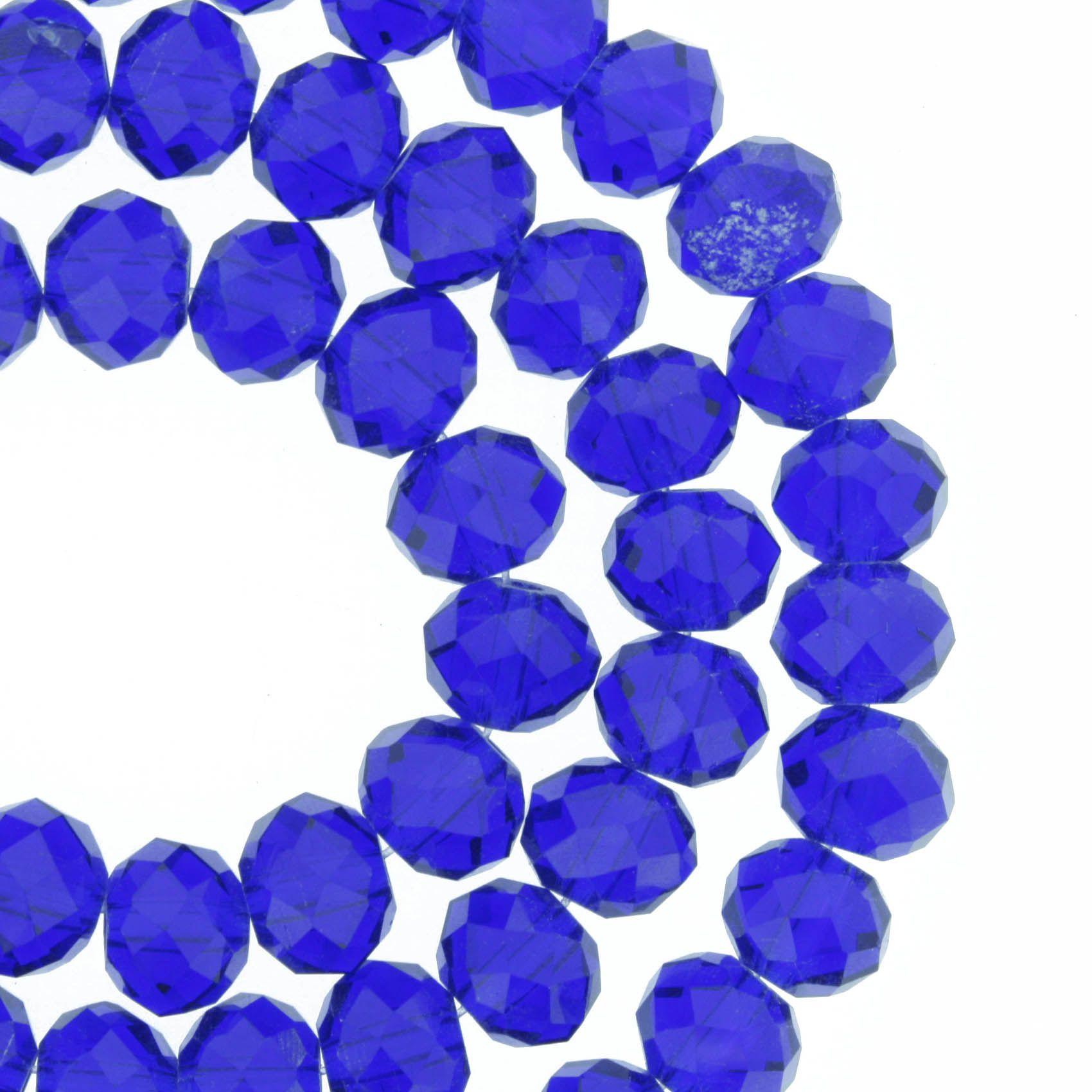 Fio de Cristal - Piatto® - Azul Royal Transparente - 8mm  - Universo Religioso® - Artigos de Umbanda e Candomblé