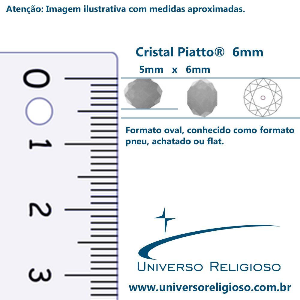 Fio de Cristal - Piatto® - Bege Irizado Transparente - 6mm  - Universo Religioso® - Artigos de Umbanda e Candomblé