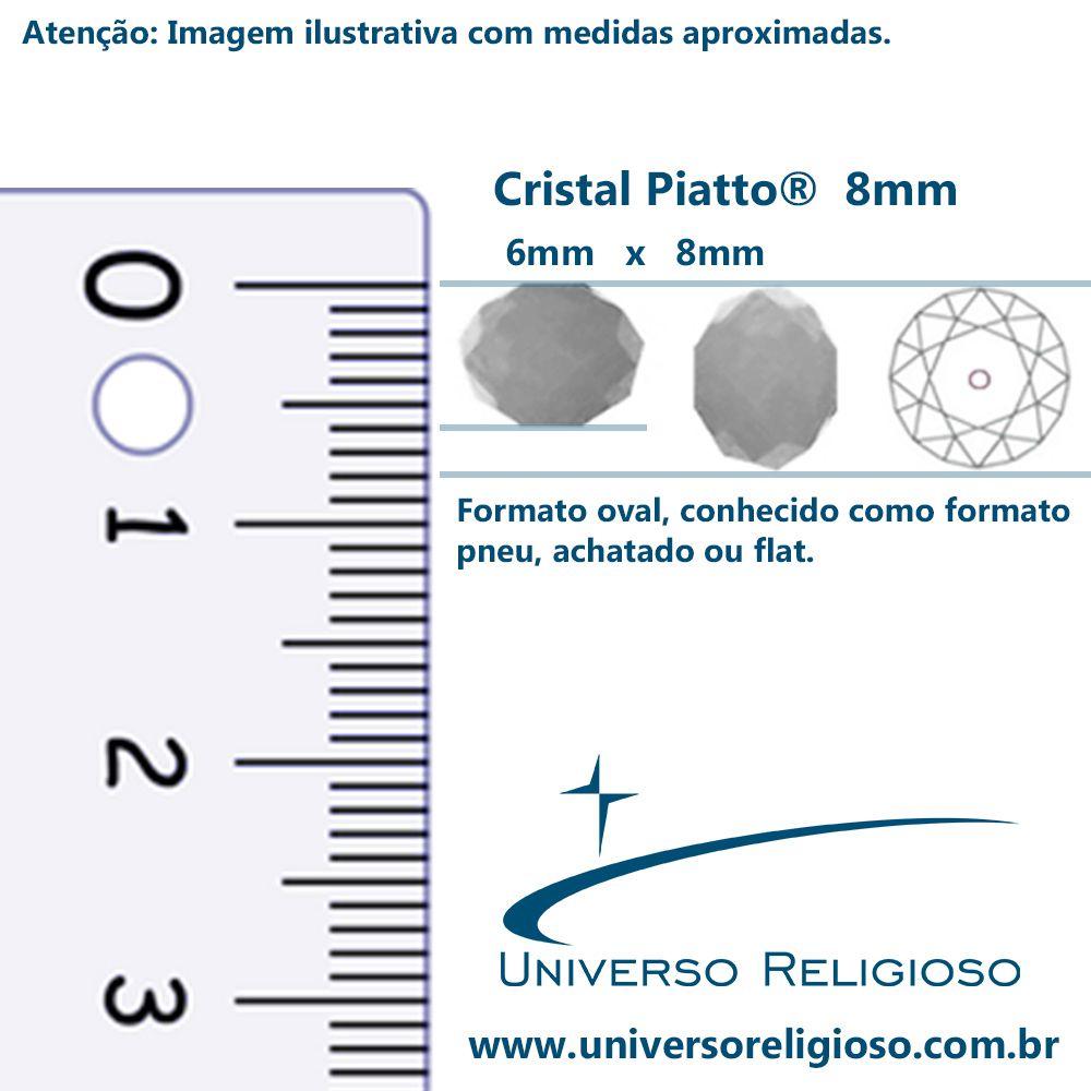 Fio de Cristal - Piatto® - Bege Irizado Transparente - 8mm  - Universo Religioso® - Artigos de Umbanda e Candomblé