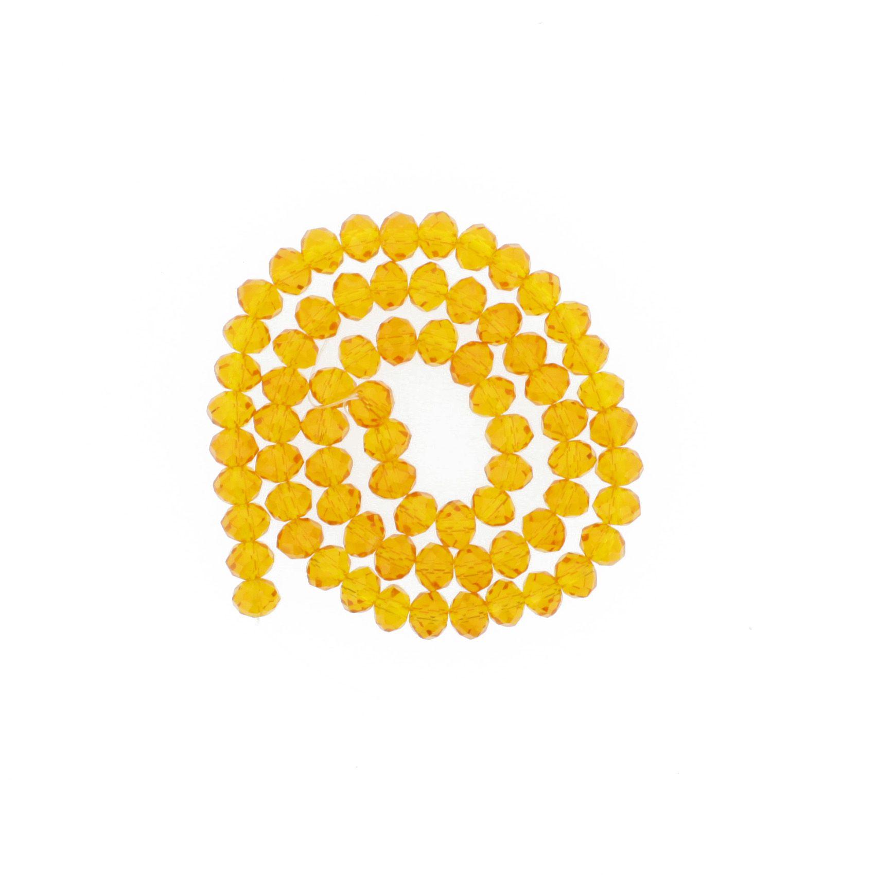 Fio de Cristal - Piatto® - Laranja Transparente - 8mm  - Universo Religioso® - Artigos de Umbanda e Candomblé