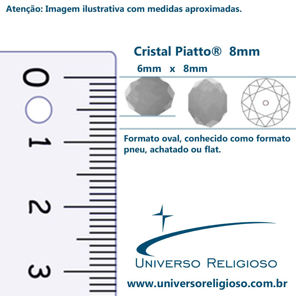 Fio de Cristal - Piatto® - Prateado - 8mm  - Universo Religioso® - Artigos de Umbanda e Candomblé