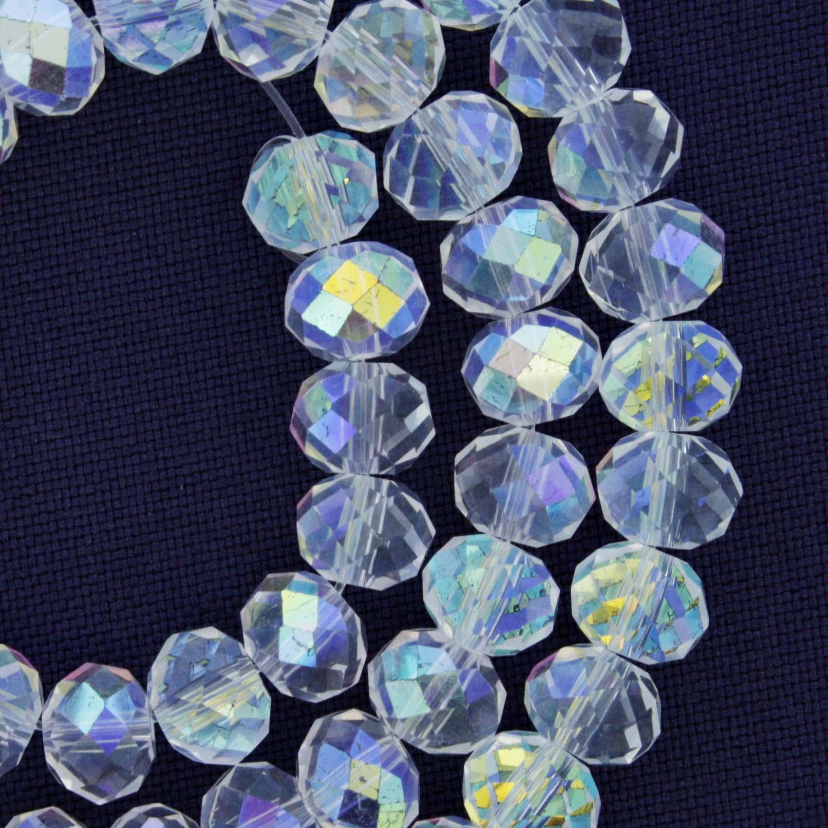 Fio de Cristal - Piatto® - Transparente Irizado - 8mm  - Universo Religioso® - Artigos de Umbanda e Candomblé