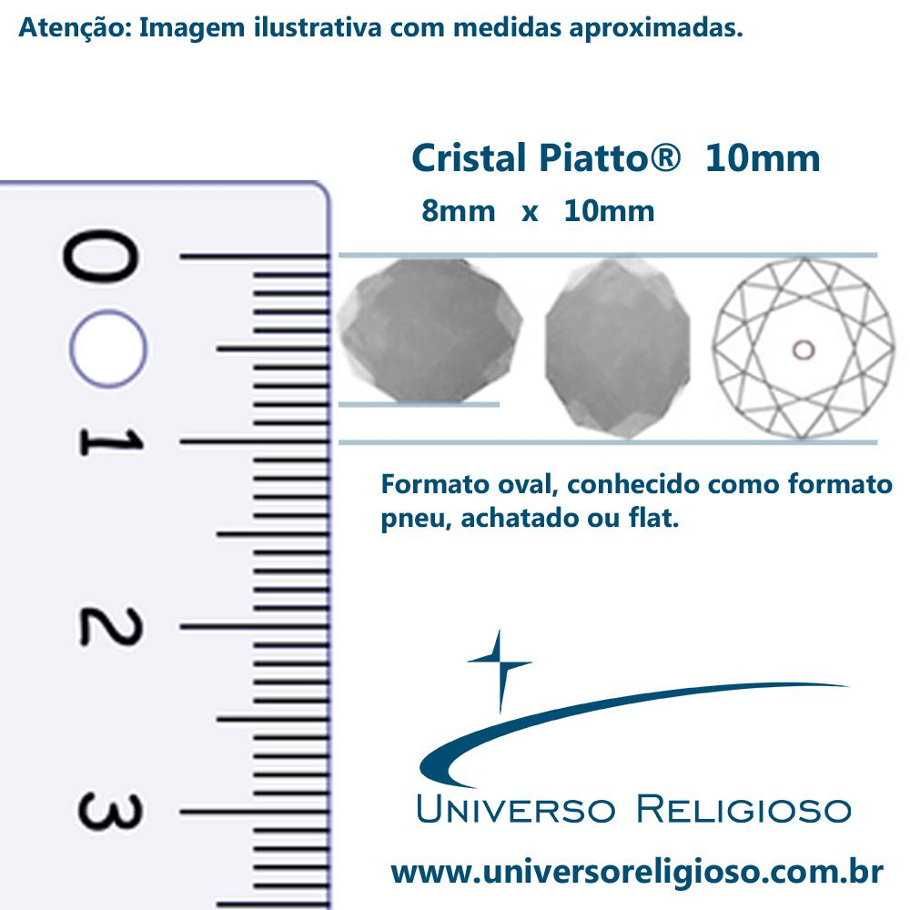 Fio de Cristal - Piatto® - Verde Turquesa - 10mm  - Universo Religioso® - Artigos de Umbanda e Candomblé