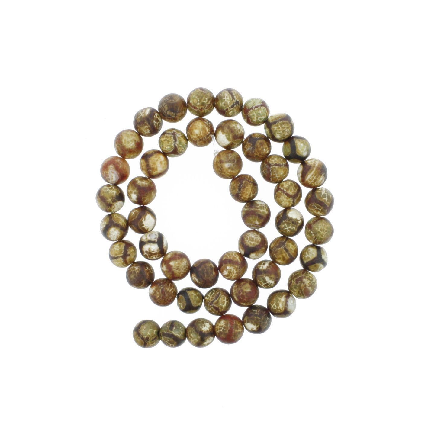 Fio de Pedra - Pietra® - Ágata Tibetana - 8mm  - Universo Religioso® - Artigos de Umbanda e Candomblé