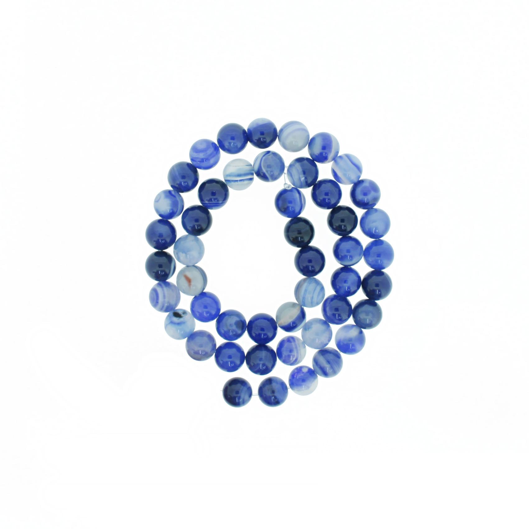 Fio de Pedra - Pietra® - Ágata Azul - 8mm  - Universo Religioso® - Artigos de Umbanda e Candomblé