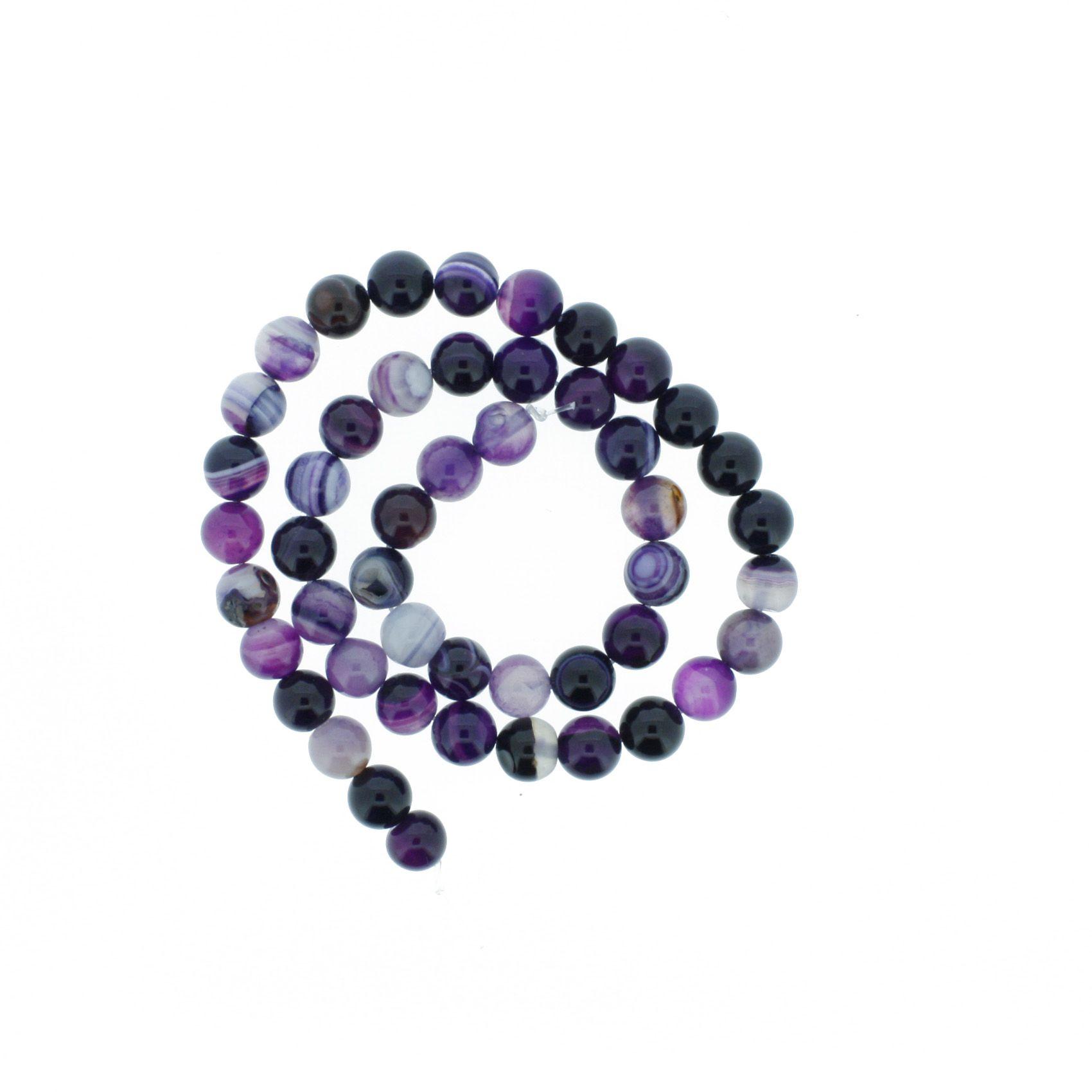 Fio de Pedra - Pietra® - Ágata Roxa - 8mm  - Universo Religioso® - Artigos de Umbanda e Candomblé