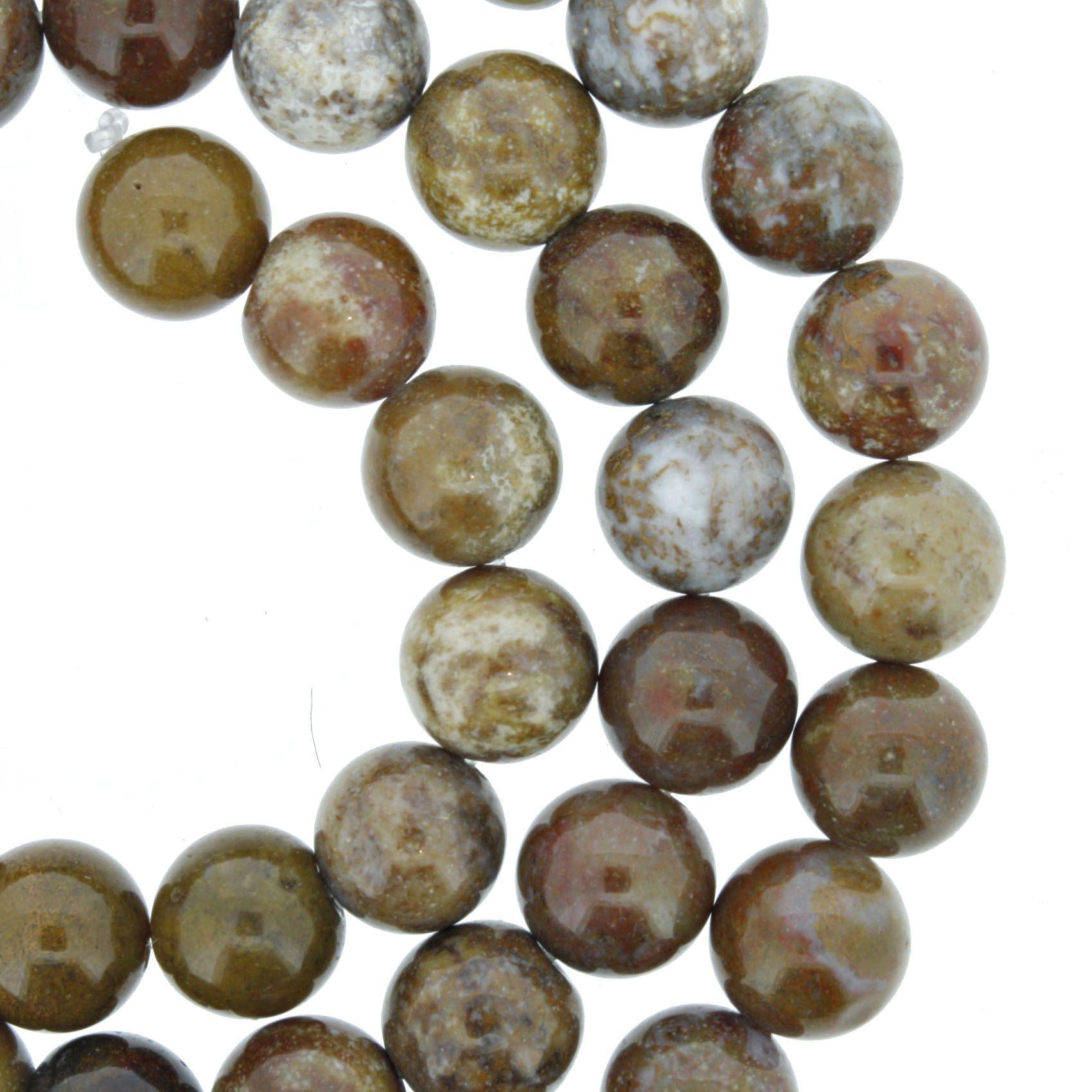 Fio de Pedra - Pietra® - Jaspe Mokaite Caramelo - 8mm  - Universo Religioso® - Artigos de Umbanda e Candomblé