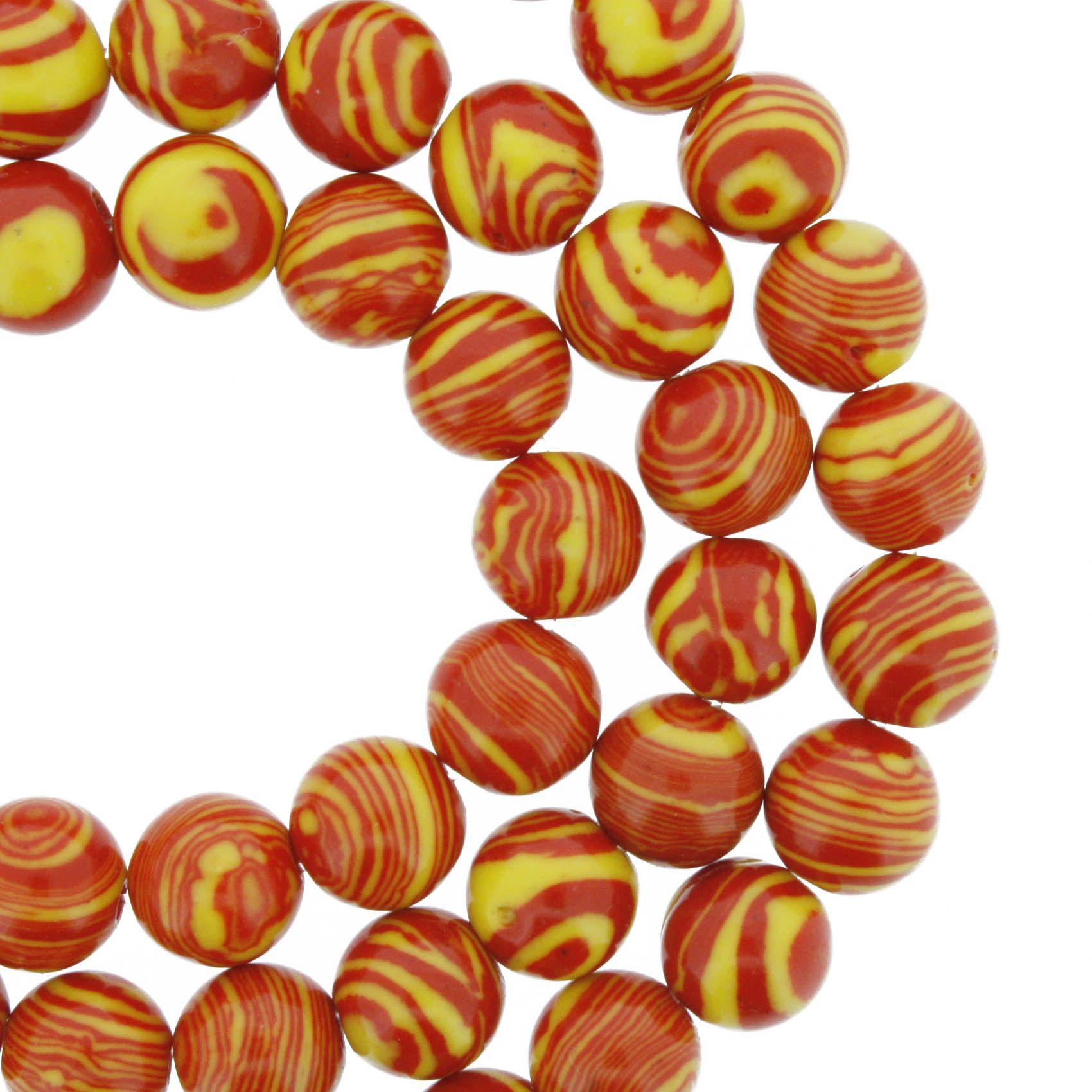 Fio de Pedra - Pietra® - Malaquita Vermelha e Amarela - 8mm  - Universo Religioso® - Artigos de Umbanda e Candomblé